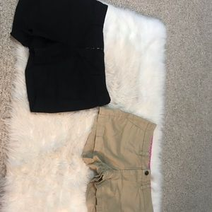 2 Kaki shorts one tan & one black